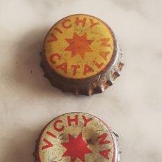 Coleccionismo de cervezas: LOTE DE 2 CHAPA CORONA TAPÓN CORCHO VICHY CATALÁN. Lote 213621072