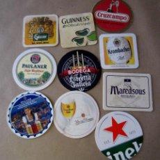 Coleccionismo de cervezas: IMPORTANTE LOTE DE 10 POSAVASOS. CERVEZA GÖSSER, MAREDSOUS, GUINNESS... AA. Lote 214075668
