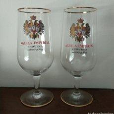 Coleccionismo de cervezas: ANTIGUAS COPAS DE CERVEZA ÁGUILA IMPERIAL - CERVEZA DE ESPAÑA. Lote 216669361
