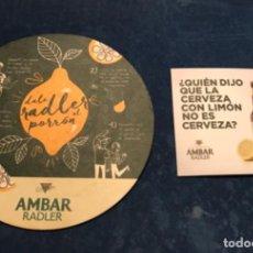 Collezionismo di birre: 2 POSAVASOS DE RADLER CERVEZAS AMBAR DE ZARAGOZA. Lote 219180781