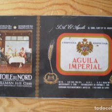 Coleccionismo de cervezas: ANTIGUA CHAPA HOJALATA PARA HACER BOTE CERVEZA AGUILA IMPERIAL COLECCION COCHES CAMA. Lote 221556302