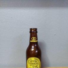 Coleccionismo de cervezas: BOTELLA DE CERVEZA AMBAR LA ZARAGOZANA. MODELO RARO BOTELLIN UN QUINTO 1/5. Lote 221909866