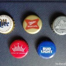Coleccionismo de cervezas: LOTE DE 5 CHAPAS TAPÓN CORONA DIFERENTES, SURTIDO DE CERVEZAS USA. VER DESCRIPCIÓN.. Lote 222338726