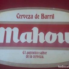 Coleccionismo de cervezas: MAHOU - CERVEZA DE BARRIL -CARTEL DE PUBLICIDAD EN METACRILATO.. Lote 222577172