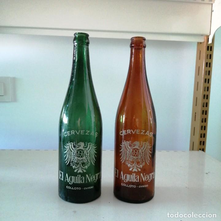ANTIGUA BOTELLA DE CERVEZA EL AGUILA NEGRA ASTURIAS COLOR VERDE Y MARRON OVIEDO COLLOTO DE 66 CL (Coleccionismo - Botellas y Bebidas - Cerveza )