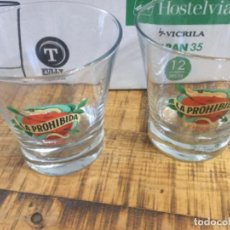 Coleccionismo de cervezas: MAHOU LA PROHIBIDA SIDRA - CAJA CON 12 VASOS 35 CL DE SIDRA - MADRID. Lote 223797450
