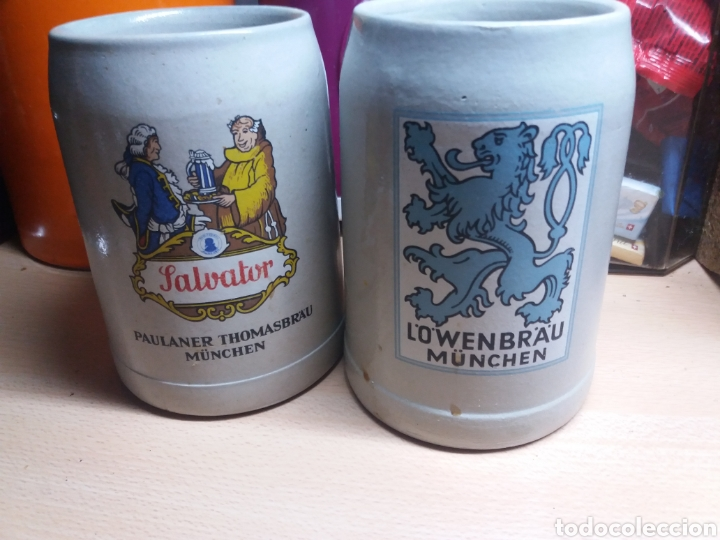 Coleccionismo de cervezas: 2 jarras cerveza alemanas 0,5 L vintage gran calidad MUNICH LOWENBRAU SALVATOR Baviera - Foto 3 - 224201773