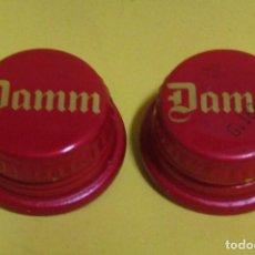 Coleccionismo de cervezas: DAMM LOTE DE 2 ANTIGUOS TAPONES CERVEZA DE ROSCA VER IMAGEN DEL INTERIOR. Lote 224833405