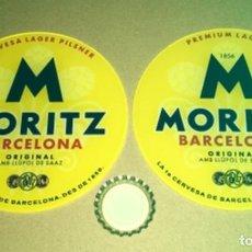 Coleccionismo de cervezas: 2 EMBELLECEDORES GRANDES DIFERENTES GRIFO CERVEZA MORITZ. Lote 225398630