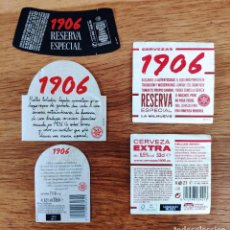 Coleccionismo de cervezas: ESTRELLA GALICIA 1906 * DOBLE LOTE DE ETIQUETAS: MODELO ANTIGUO Y NUEVO (TERCIO). Lote 66504218