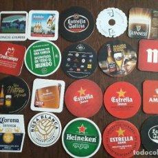 Coleccionismo de cervezas: LOTE DE 20 POSAVASOS DE CERVEZA, MAHOU, CRUZCAMPO, ESTRELLA DAMM, ESTRELLA GALICIA, ALHAMBRA... Lote 228352070