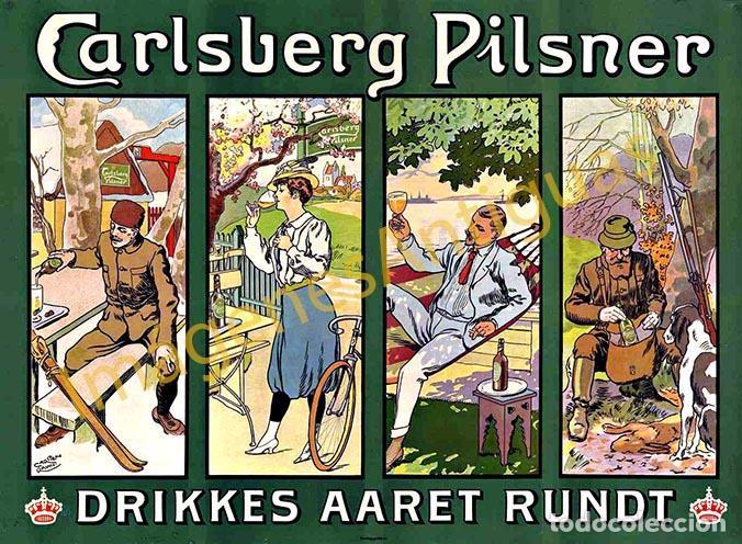 CARLSBERG PILSNER DRIKKES AARET RUNDT - CARTELES - IMAGENES - PUBLICIDAD - BEBIDAS - CERVEZAS (Coleccionismo - Botellas y Bebidas - Cerveza )
