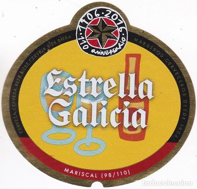 ETIQUETA CERVEZA ESTRELLA GALICIA. 110 ANIVERSARIO. MARISCAL. Nº 98 - 33 CL (Coleccionismo - Botellas y Bebidas - Cerveza )