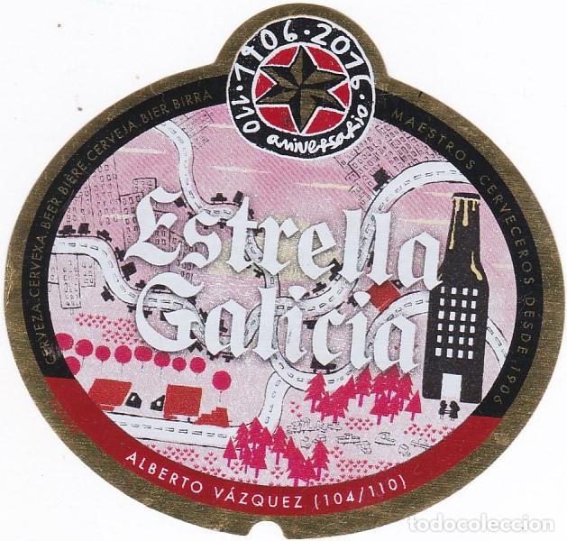 ETIQUETA CERVEZA ESTRELLA GALICIA. 110 ANIVERSARIO. ALBERTO VAZQUEZ. Nº 104 - 33 CL (Coleccionismo - Botellas y Bebidas - Cerveza )