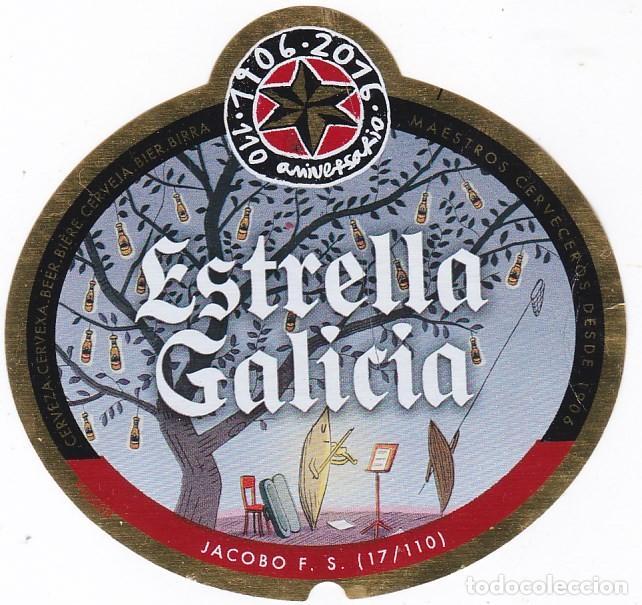 ETIQUETA CERVEZA ESTRELLA GALICIA. 110 ANIVERSARIO. JACOBO F. S. Nº 17 - 33 CL (Coleccionismo - Botellas y Bebidas - Cerveza )