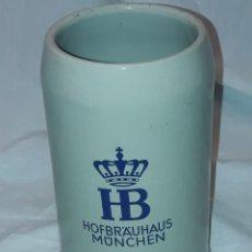 Coleccionismo de cervezas: BELLA GRAN JARRA DE CERVEZA HB HOFBRAUHAUS MONIQUE ALEMANIA 1LITRO 19CM. Lote 229060685