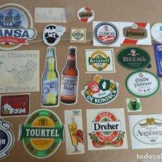 Coleccionismo de cervezas: CERVEZA LOTE 35 ADHESIVOS PEGATINAS ORIGINALES VARIADOS. Lote 230215250