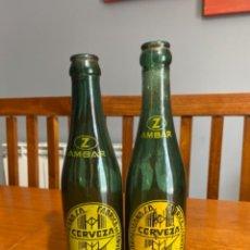 Coleccionismo de cervezas: LOTE DE 2 BOTELLAS DE CERVEZAS AMBAR LA ZARAGOZANA DIFERENTES. Lote 231461195