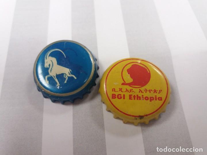 LOTE DE 2. CHAPA. TAPÓN. CORONA. CERVEZA DE ETIOPÍA. (Coleccionismo - Botellas y Bebidas - Cerveza )
