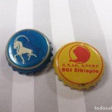 Coleccionismo de cervezas: LOTE DE 2. CHAPA. TAPÓN. CORONA. CERVEZA DE ETIOPÍA.. Lote 234327535