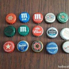 Collectionnisme de bières: LOTE DE 15 CHAPAS DE CERVEZA, ALHAMBRA, CRUZCAMPO, SAN MIGUEL, MAHOU.... Lote 235191470