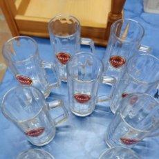 Coleccionismo de cervezas: LOTE DE 9 JARRAS AMBAR ESPECIAL - ZARAGOZA EXPO 2008. Lote 235837860
