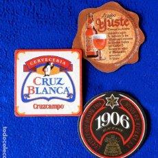 Coleccionismo de cervezas: POSAVASOS CERVEZAS - LOTE DE TRES MARCAS ESPAÑOLAS - EN CARTÓN DURO - NUEVOS. Lote 235999215