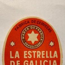 Coleccionismo de cervezas: ANTIGUA ETIQUETA DE CERVEZA ESTRELLA DE GALICIA. Lote 236993110