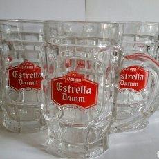 Coleccionismo de cervezas: SEIS JARRAS DE CRISTAL / ESTRELLA DAMM / AÑOS 90. Lote 240201400