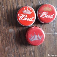 Coleccionismo de cervezas: LOTE DE 3 CHAPAS TAPÓN CORONA DE CERVEZA BUD. Lote 241135555