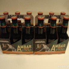 Coleccionismo de cervezas: COLECCION COMPLETA CON SU PACK 12 BOTELLAS LLENAS EDICON LIMITADA AMARAL AMBAR LA ZARAGOZANA. Lote 242216105