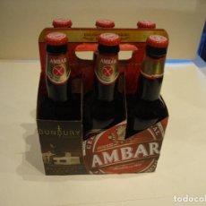 Coleccionismo de cervezas: COLECCION COMPLETA CON SU PACK 6 BOTELLAS LLENAS EDICON LIMITADA BUMBURY AMBAR LA ZARAGOZANA. Lote 242216535