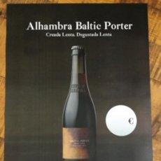Coleccionismo de cervezas: ALHAMBRA BALTIC PORTER - CÁRTEL PÓSTER DE PAPEL - CERVEZA GRANADA. Lote 242997990
