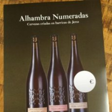 Coleccionismo de cervezas: ALHAMBRA NUMERADAS - CÁRTEL PÓSTER DE PAPEL - CERVEZA GRANADA. Lote 243000975