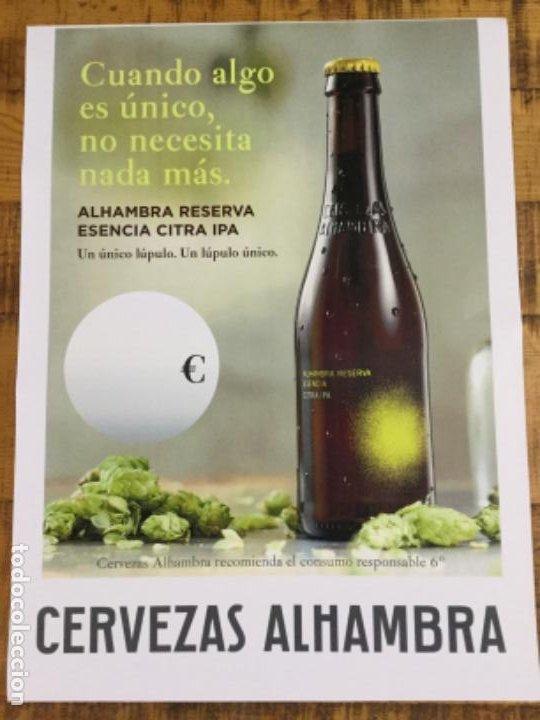 ALHAMBRA RESERVA ESENCIA CITRA IPA - CÁRTEL PÓSTER DE PAPEL - CERVEZA GRANADA (Coleccionismo - Botellas y Bebidas - Cerveza )