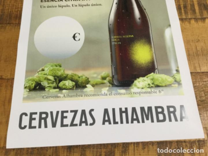 Coleccionismo de cervezas: ALHAMBRA RESERVA ESENCIA CITRA IPA - CÁRTEL PÓSTER DE PAPEL - CERVEZA GRANADA - Foto 3 - 243002955