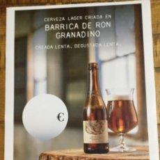 Coleccionismo de cervezas: ALHAMBRA BARRICA DE RON GRANADINO - CÁRTEL PÓSTER DE PAPEL - CERVEZA GRANADA. Lote 243057375