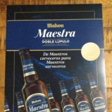 Coleccionismo de cervezas: MAHOU MAESTRA DOBLE LÚPULO - CÁRTEL PÓSTER DE PAPEL - CERVEZA DE MADRID. Lote 243059760