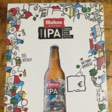 Coleccionismo de cervezas: MAHOU IPA - CÁRTEL PÓSTER DE PAPEL - CERVEZA DE MADRID. Lote 243072825