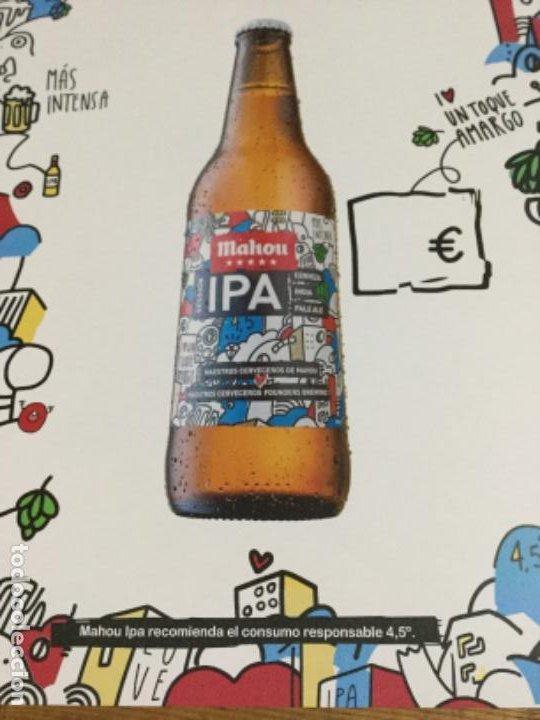 Coleccionismo de cervezas: MAHOU IPA - CÁRTEL PÓSTER DE PAPEL - CERVEZA DE MADRID - Foto 3 - 243072825