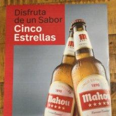 Coleccionismo de cervezas: MAHOU CINCO ESTRELLAS - CÁRTEL PÓSTER DE PAPEL - CERVEZA DE MADRID. Lote 243168115
