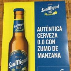 Coleccionismo de cervezas: SAN MIGUEL 00 MANZANA - CÁRTEL PÓSTER DE PAPEL - CERVEZA DE LLEIDA. Lote 243185840