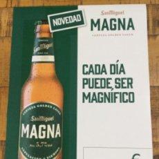 Coleccionismo de cervezas: SAN MIGUEL MAGNA 33 CL - CÁRTEL PÓSTER DE PAPEL - CERVEZA DE LLEIDA. Lote 243187760
