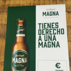 Coleccionismo de cervezas: SAN MIGUEL MAGNA 20 CL - CÁRTEL PÓSTER DE PAPEL - CERVEZA DE LLEIDA. Lote 243189950