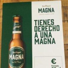 Coleccionismo de cervezas: SAN MIGUEL MAGNA 20 CL - CÁRTEL PÓSTER DE PAPEL - CERVEZA DE LLEIDA. Lote 243190635