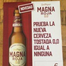 Coleccionismo de cervezas: SAN MIGUEL MAGNA ROJA 00 - 33 CL - CÁRTEL PÓSTER DE PAPEL - CERVEZA DE LLEIDA. Lote 243192640