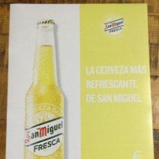 Coleccionismo de cervezas: SAN MIGUEL FRESCA - CÁRTEL PÓSTER DE PAPEL - CERVEZA DE LLEIDA. Lote 243235330