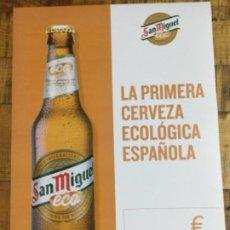 Coleccionismo de cervezas: SAN MIGUEL ECO - CÁRTEL PÓSTER DE PAPEL - CERVEZA DE LLEIDA. Lote 243239970