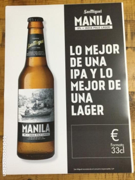 SAN MIGUEL MANILA - CÁRTEL PÓSTER DE PAPEL - CERVEZA DE LLEIDA (Coleccionismo - Botellas y Bebidas - Cerveza )