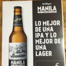 Coleccionismo de cervezas: SAN MIGUEL MANILA - CÁRTEL PÓSTER DE PAPEL - CERVEZA DE LLEIDA. Lote 243242515